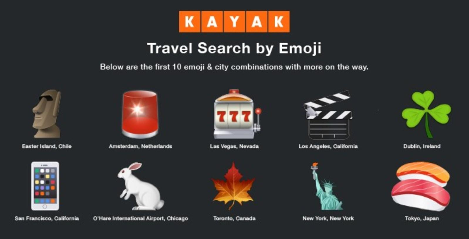 Kayak launches travel searches by emoji