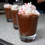 Boozy peppermint hot cocoa shooters are the perfect holiday treat
