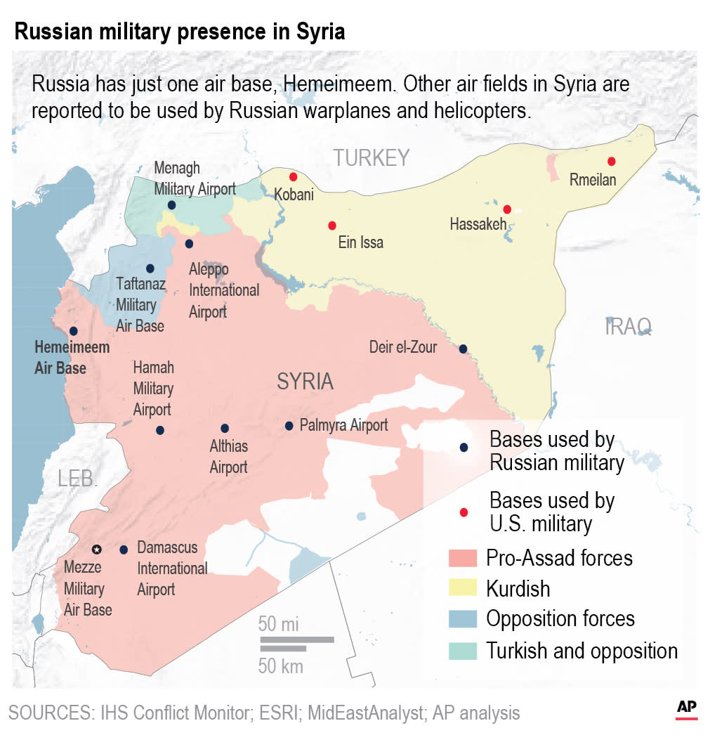 Russia has just one air base Hemeimeem, Other air fields in Syria are reported to be used by Russian warplanes.;