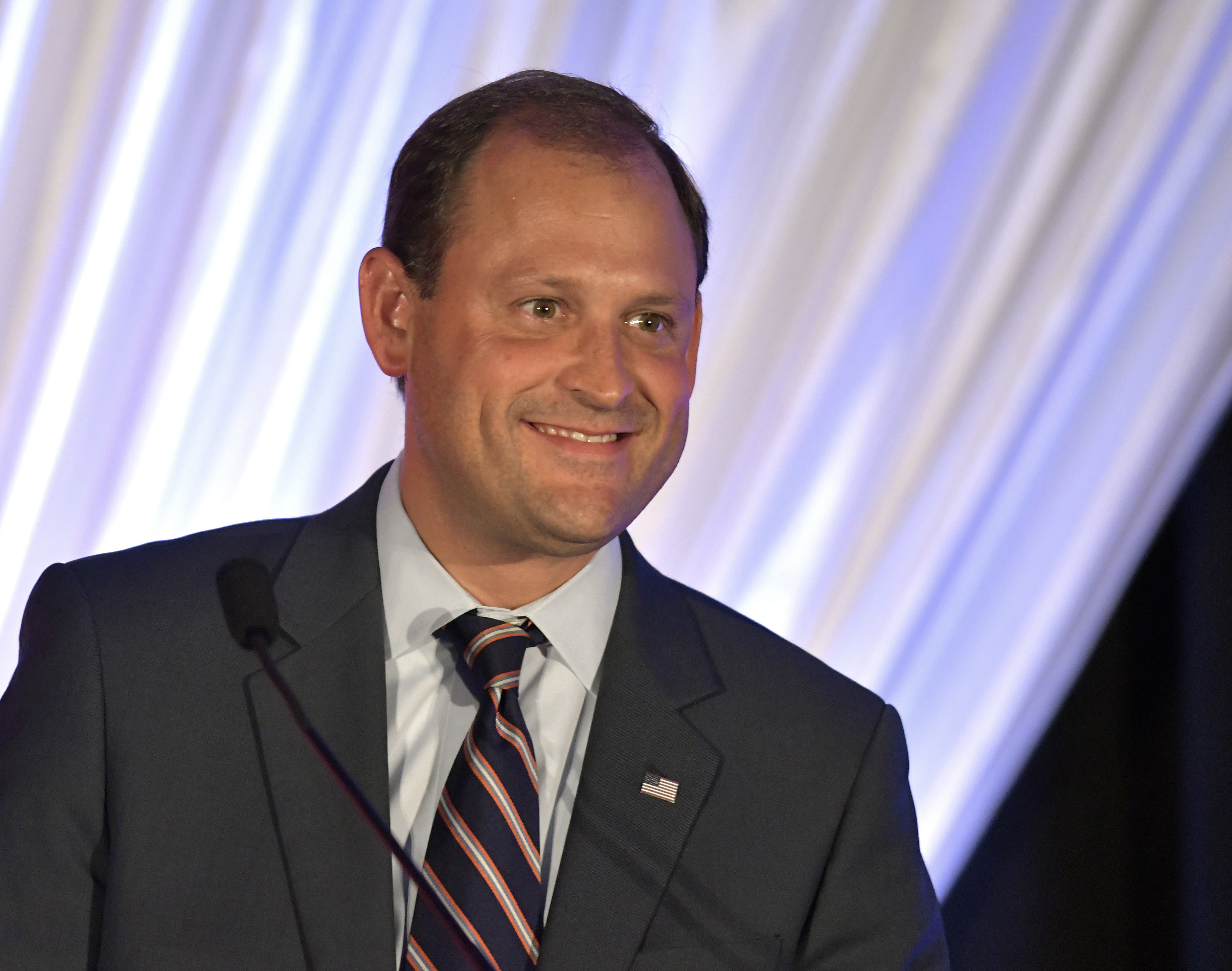 FILE- In this Aug. 25, 2018, file photo Rep. Andy Barr, R-Ky., addresses the audience during the Republican Party's Lincoln Dinner in Lexington, Ky. Democrat Amy McGrath has raised more money than Republican U.S. Rep. Andy Barr in Kentucky's 6th Congressional district. McGrath has raised more than $6 million while Barr has raised more than $4 million. (AP Photo/Timothy D. Easley, File)