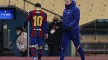 Foot - ESP - Coupe - Lionel Messi a reçu le premier carton rouge de sa carrière avec le FC Barcelone lors de la finale de la Supercoupe d'Espagne