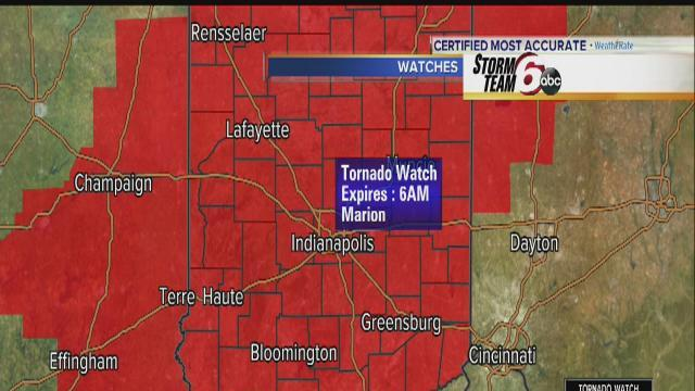 Tornado watch for central Indiana