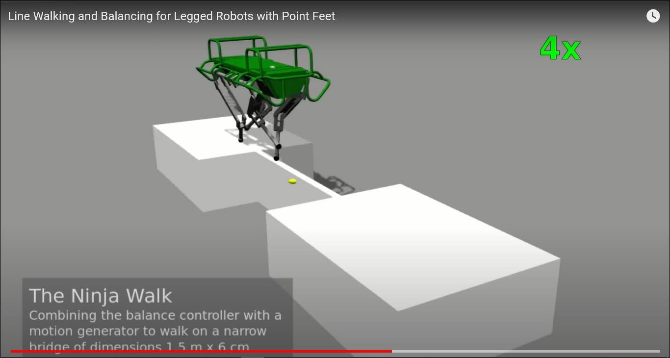 Dog-like robots' latest ability? Walking across 6-cm-wide beams