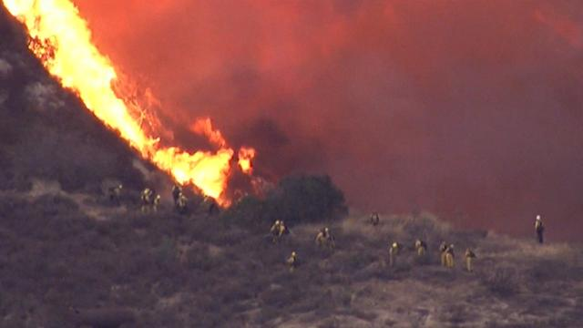 Mountain wildfires burn near Los Angeles