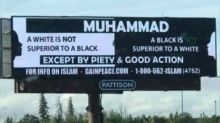 Distorted image of billboard promoting racial equality leads to lesson for angry callers