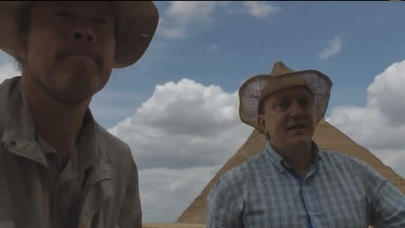 """Dominique Goerlitz and Stefan Erdmann who visited the Egyptian pyramids in April 2013 now face criminal charges for their attempt to prove their """"alternative history"""" conspiracy theories through vandalism."""