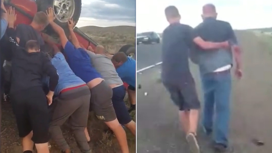 School sports team lifts car to free trapped passengers