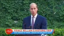 Prince William arrives in Amman for diplomatic duty