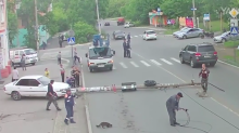 Cat tries to play with emergency workers after car crashes into electricity pole