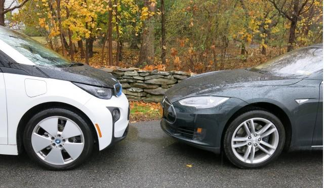 tesla model s vs bmw i3 electric car efficiency comparison test yahoo autos
