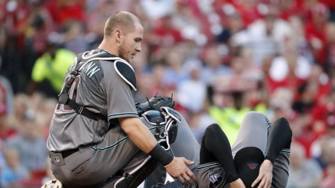 D-Backs pitcher Robbie Ray carted off after being hit in head by line drive