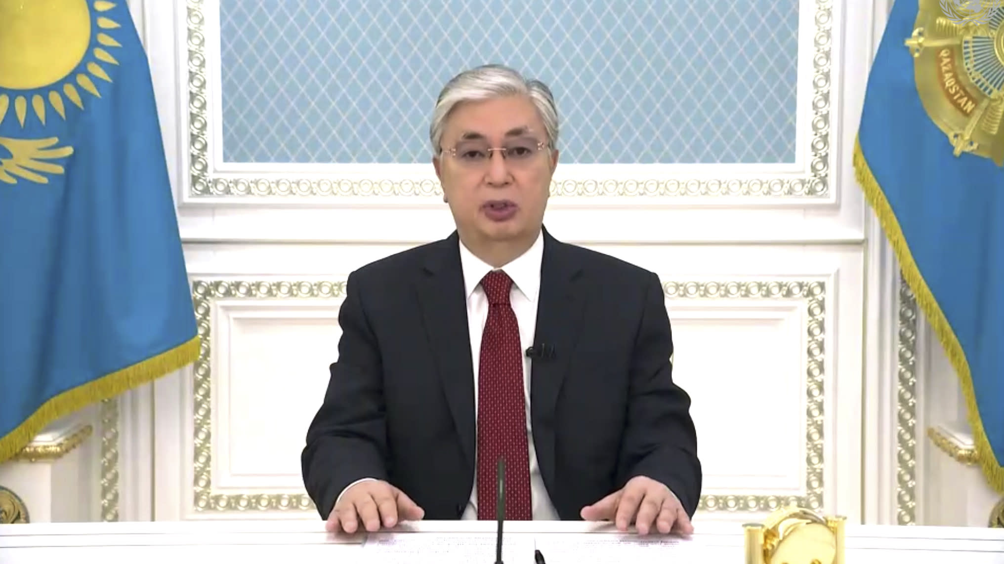 In this image made from UNTV video, Kassym-Jomart Tokayev, President of Kazakhstan, speaks in a pre-recorded message which was played during the 75th session of the United Nations General Assembly, Wednesday, Sept. 23, 2020, at UN headquarters. (UNTV via AP)