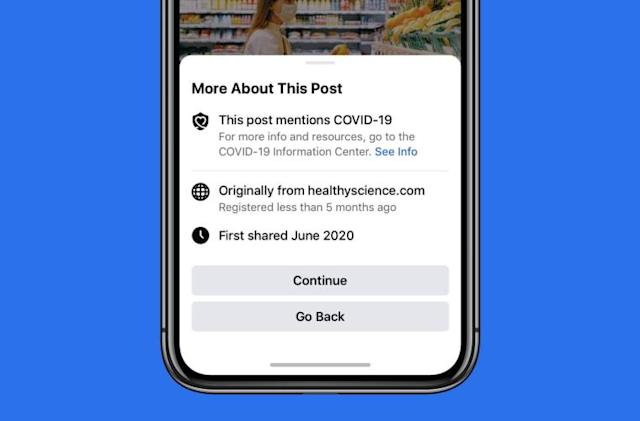 Facebook will show pop-ups before you share articles about COVID-19