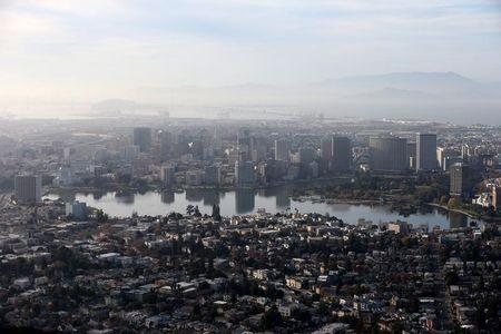The city of Oakland is seen, California
