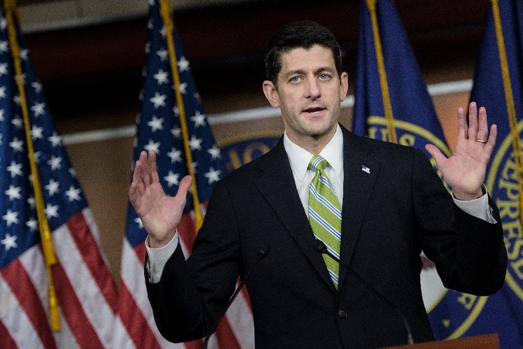 The US House of Representatives, led by Speaker of the House Paul Ryan (pictured November 19, 2015) has passed a bill suspending the American program for resettling Syrian refugees, though the White House has threatened a veto (AFP Photo/Brendan Smialowski)