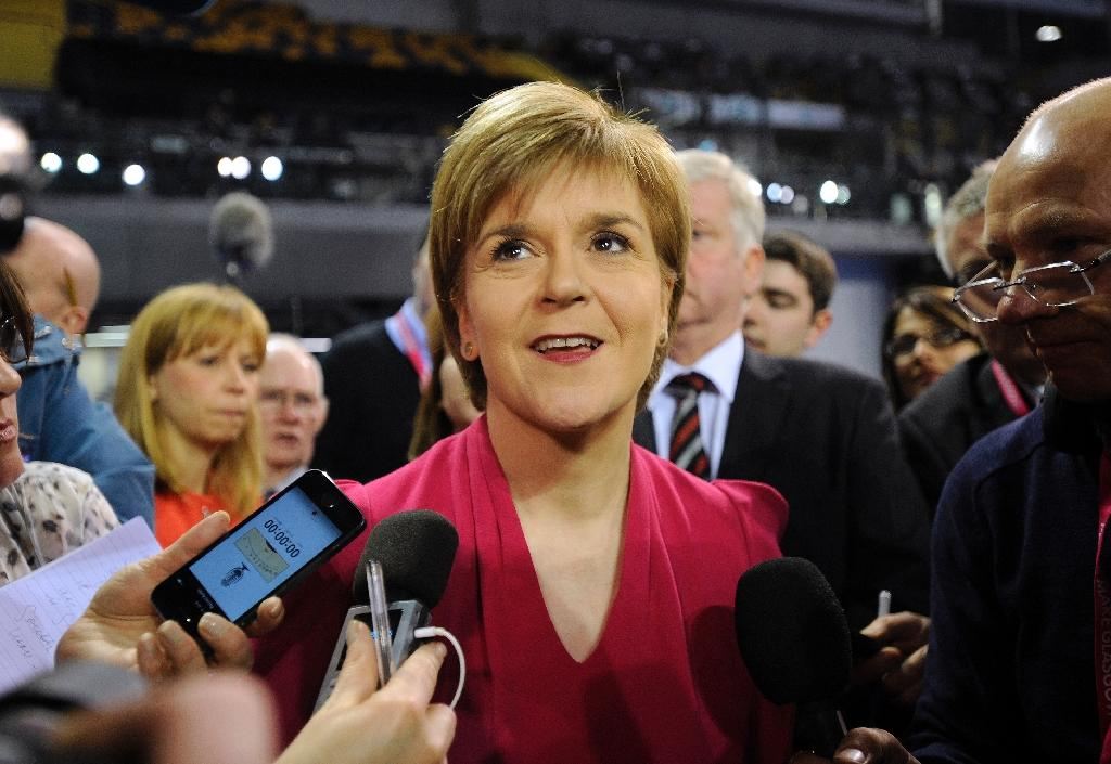 Leader of the Scottish National Party (SNP) Nicola Sturgeon attends the Glasgow election count at the Emirates Arena in Glasgow on May 8, 2015 (AFP Photo/Andy Buchanan)