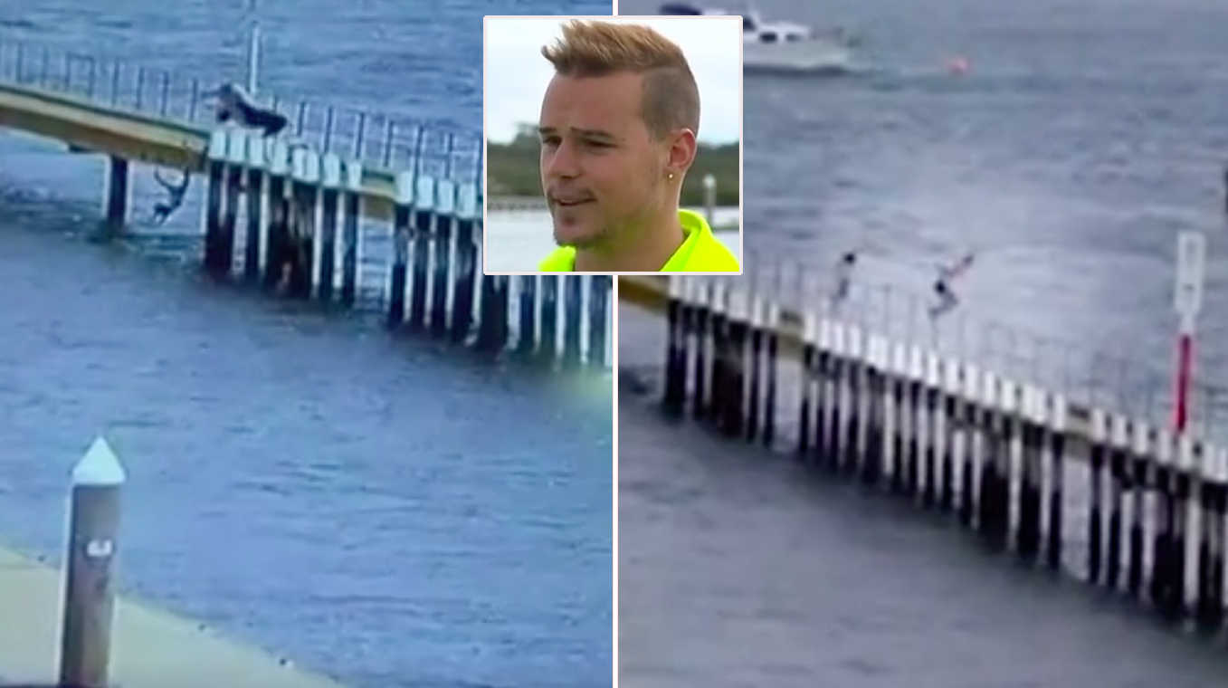 Young man dives off pier to save toddler who slipped