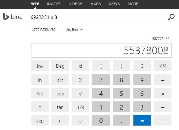 Bing search gets a scientific calculator almost two years after Google