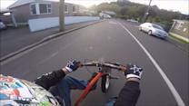'Drift triking' the steepest street in the world