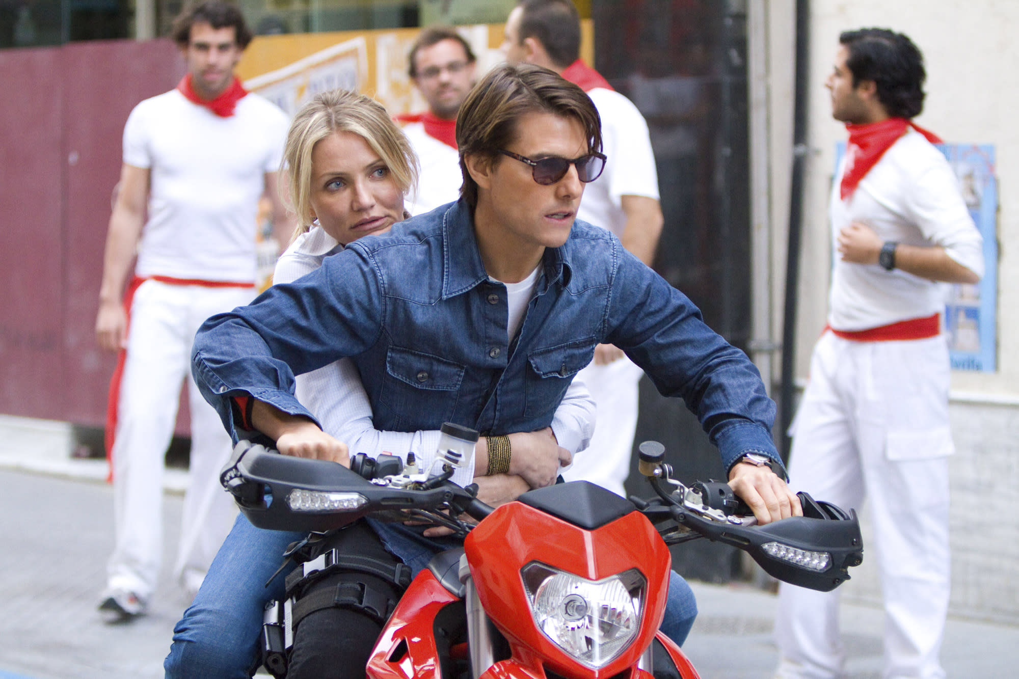 """<p>How do you secure the bottom position in these rankings? Well, having more than a dozen writers work on the script and then clocking in as the lowest leading man box office performance of Cruise's career is a good start. The combination of Cruise, <a href=""""https://ew.com/tag/cameron-diaz/"""" rel=""""nofollow noopener"""" target=""""_blank"""" data-ylk=""""slk:Cameron Diaz"""" class=""""link rapid-noclick-resp"""">Cameron Diaz</a>, and director <a href=""""https://ew.com/tag/james-mangold/"""" rel=""""nofollow noopener"""" target=""""_blank"""" data-ylk=""""slk:James Mangold"""" class=""""link rapid-noclick-resp"""">James Mangold</a> should have been a formidable trio, and instead this action comedy isn't funny, looks cheap, and Cruise's spy Roy Miller is nothing more than an even cheaper Ethan Hunt knockoff.</p> <p><b>Related: </b><a href=""""https://ew.com/article/2010/07/02/knight-and-day-behind-scenes/"""" rel=""""nofollow noopener"""" target=""""_blank"""" data-ylk=""""slk:Behind the scenes of Knight and Day"""" class=""""link rapid-noclick-resp"""">Behind the scenes of <i>Knight and Day</i></a></p>"""