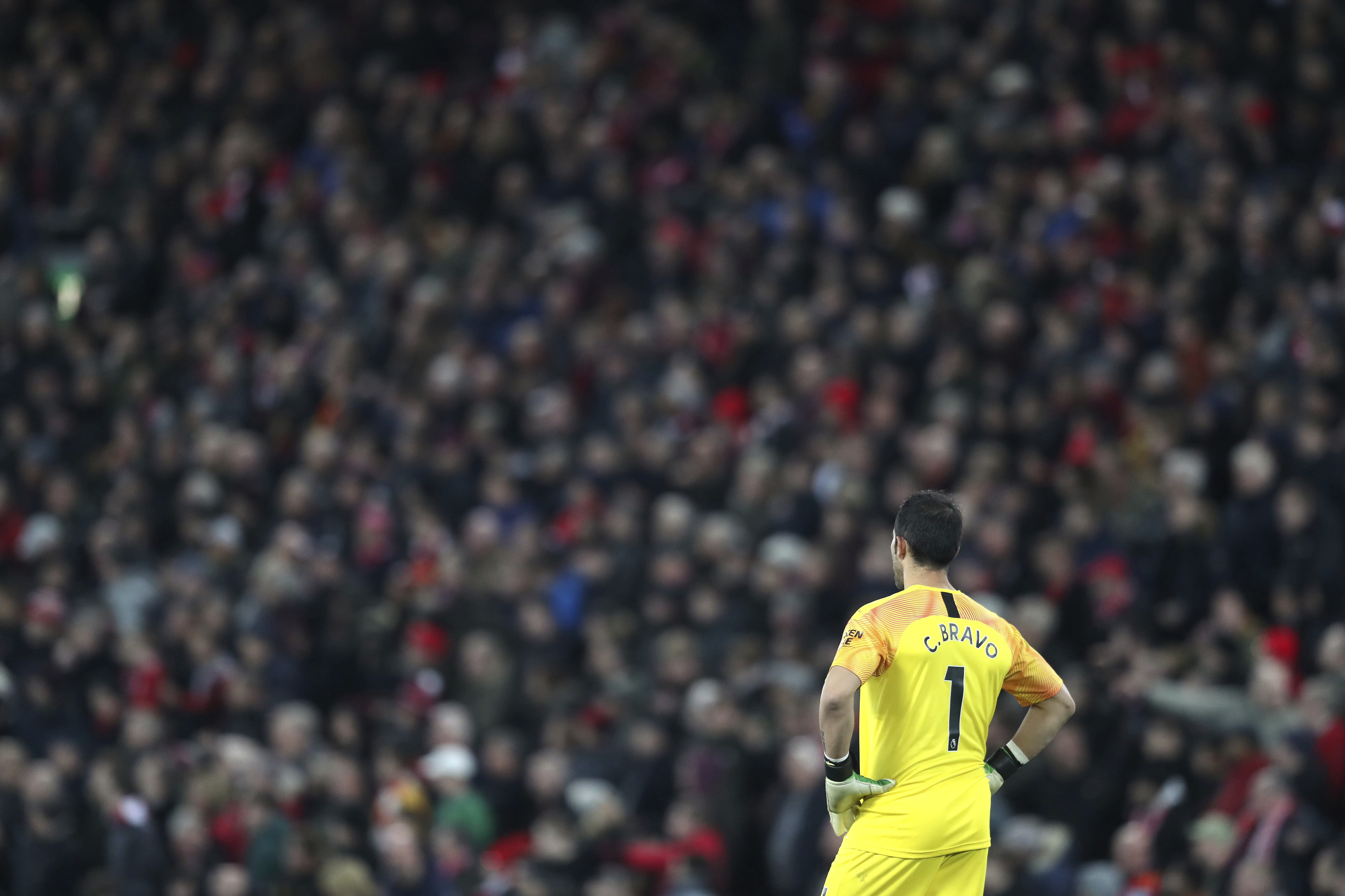 Manchester City's goalkeeper Claudio Bravo stands during the English Premier League soccer match between Liverpool and Manchester City at Anfield stadium in Liverpool, England, Sunday, Nov. 10, 2019. (AP Photo/Jon Super)