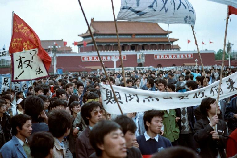 Protesters rally in Tiananmen Square in May 1989 in a pro-democracy uprising that was violently put down (AFP Photo/Vitaly ARMAND)