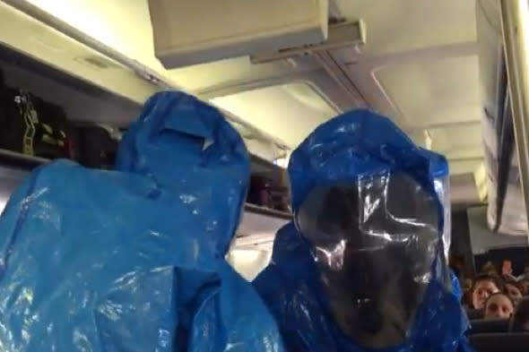 """One US Airways plane passenger was removed by men in hazmat suits and tested for ebola after <a href=""""http://travel.aol.co.uk/2014/10/10/passenger-removed-US-Airways-plane-ebola-joke/"""" target=""""_blank"""">joking that he had the fatal disease</a>. The 54-year-old man reportedly yelled, """"I have Ebola, you are all screwed,"""" on a flight from Philadelphia to the Dominican Republic and added, """"I've been to Africa!"""". When the plane arrived in Punta Cana, a medical team boarded the plane and removed the man. He was found not to be infected with the virus, and it also transpired that he had never been to Africa."""