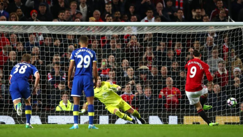 Zlatan Ibrahimovic scoring for Manchester United against Everton