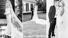Hailey Bieber divides opinion with slogan wedding dress