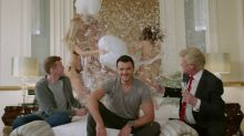 Donald Trump plays poker with Hillary Clinton and watches models pillow fight in ridiculous music video