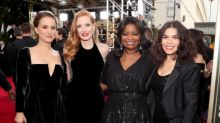 Celebrities Wear Time's Up Ribbons and Bracelets at Golden Globes