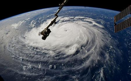 FILE PHOTO: Hurricane Florence is seen from the International Space Station as it churns in the Atlantic Ocean towards the east coast of the United States, September 10, 2018. NASA/Handout via REUTERS