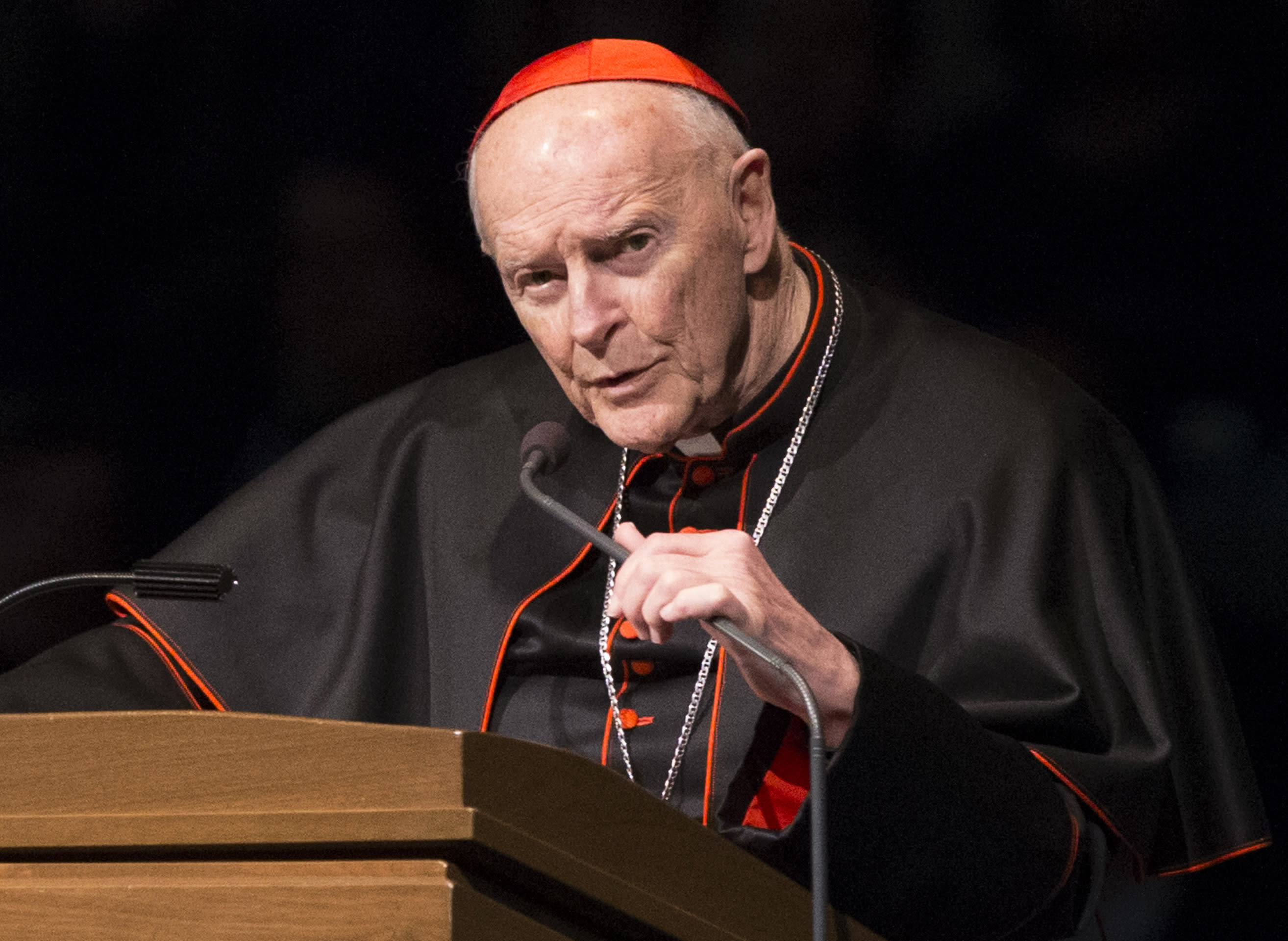 FILE - In this Wednesday, March 4, 2015, file photo, Cardinal Theodore Edgar McCarrick speaks during a memorial service in South Bend, Ind. McCarrick has been removed from public ministry since June 20, 2018, pending an investigation into allegations of sexual abuse. (Robert Franklin/South Bend Tribune via AP, Pool, File)