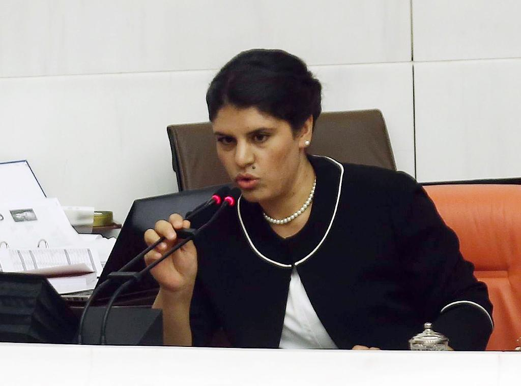 Dilek Ocalan, seen here at a swearing-in ceremony at the Turkish parliament in 2015, is the niece of jailed Kurdistan Workers' Party (PKK) leader Abdullah Ocalan