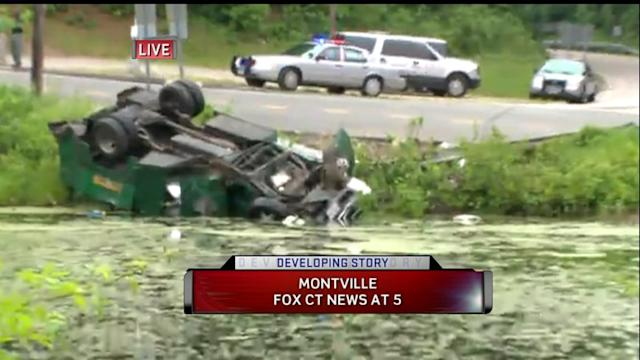 State Police Chase Ends With Crash, Vehicle Submerged In Pond In Montville