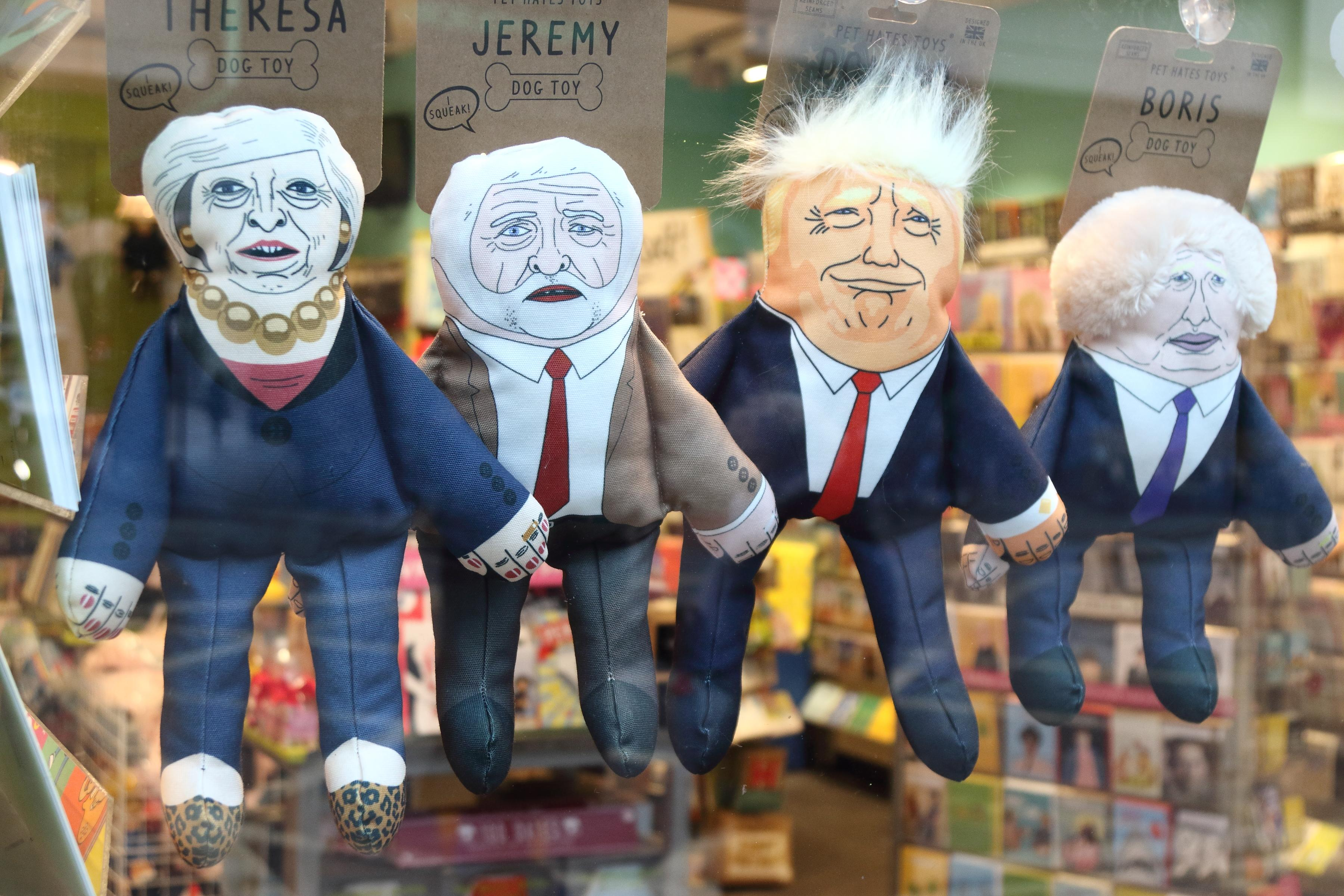 <p>Humorous puppets of politicians are seen on sale at the London shop – Theresa May (UK Prime Minister), Jeremy Corbyn (Leader of UK Labour Party) Donald Trump (US President) and Boris Johnson (former UK Foreign Secretary and Pro Brexiteer). (Photo: Keith Mayhew/SOPA Images/LightRocket via Getty Images) </p>