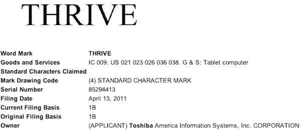 Trademark filing, domain names suggest Toshiba's tablet might be named 'Thrive'