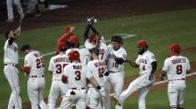 Trout ties Angels' HR record, then scores winning run