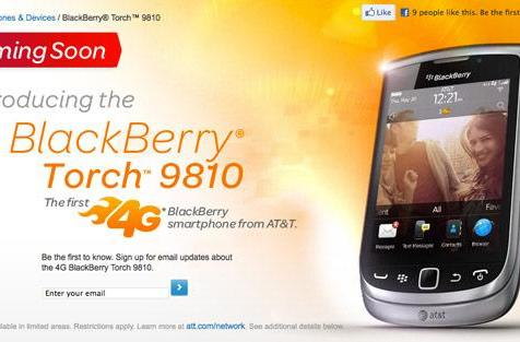 RIM's BlackBerry Torch 9810 emerges on AT&T's website, touts '4G' capabilities