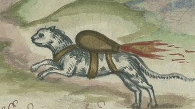 Rocket Strapped to Cat in Early Warfare Manual