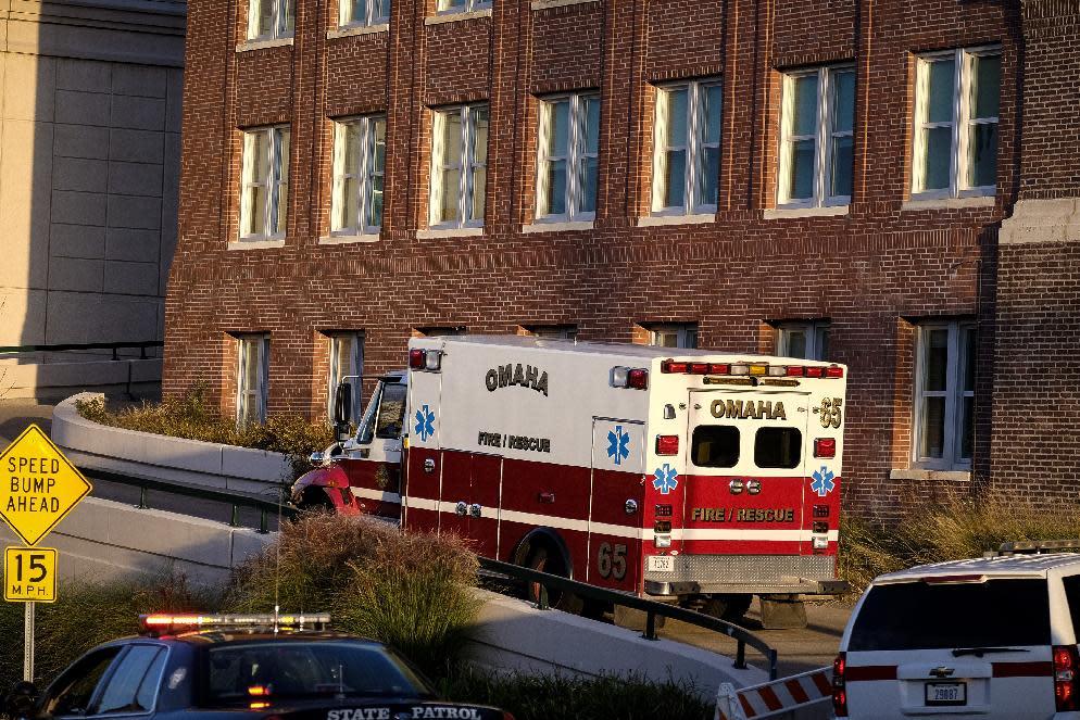 An ambulance arrives at the Nebraska Medical Center in Omaha, Nebraska on October 6, 2014, carrying an Ebola patient