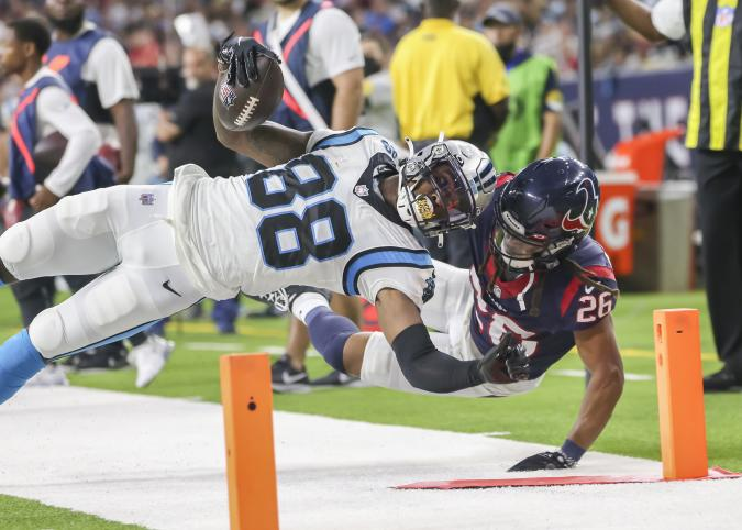 HOUSTON, TX - SEPTEMBER 23:  Carolina Panthers wide receiver Terrace Marshall Jr. (88) dives toward the corner of the end zone during the football game between the Carolina Panthers and Houston Texans on September 23, 2021 at NRG Stadium in Houston, Texas.  (Photo by Leslie Plaza Johnson/Icon Sportswire via Getty Images)