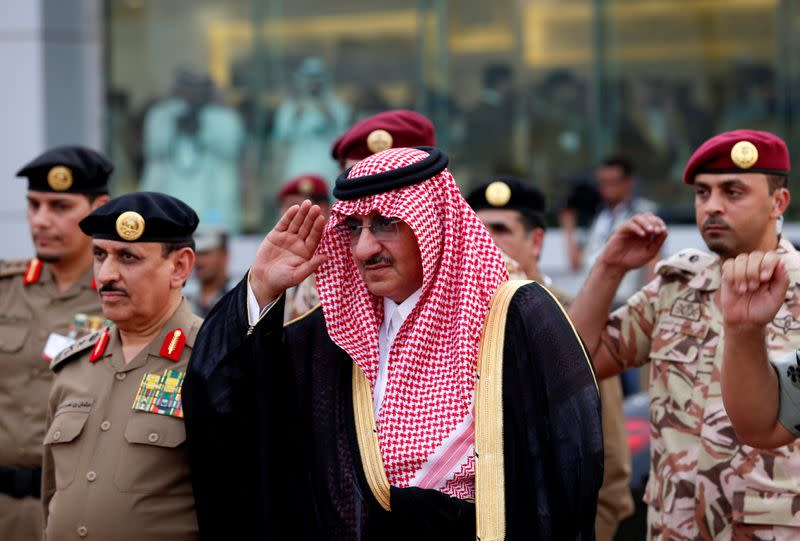 FILE PHOTO: Saudi Crown Prince Mohammed Bin Nayef, the interior minister, arrives to a military parade in preparation for the annual Haj pilgrimage in the holy city of Mecca
