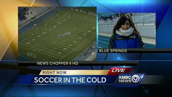 Braving the cold for high school soccer games