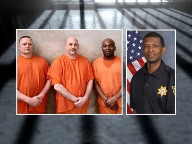 Inmates Terry Loveless, Walter Whitehead and Mitchell Smalls, left, came to the rescue of Deputy Warren Hobbs when he had an apparent cardiac incident at the Gwinnett County Jail.