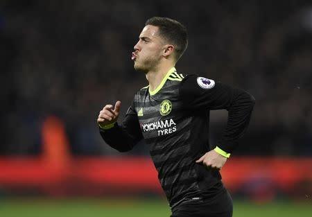 Eden Hazard, do Chelsea, comemora gol marcado contra o West Ham em Londres