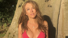 Elizabeth Hurley, 54, clings on to British summer in denim cut-offs and bikini top