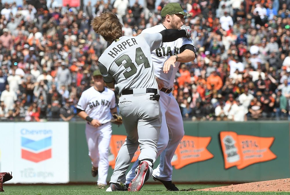 Bryce Harper and Hunter Strickland in Monday's brawl at AT&T Park. (Getty Images)