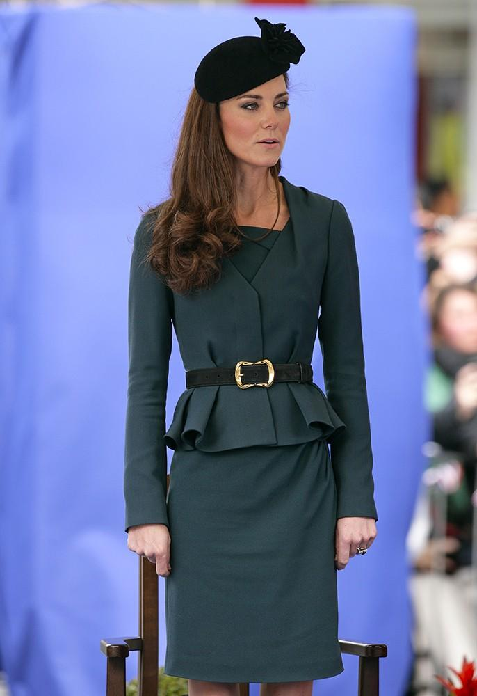 Kate wore this peplum skirt suit by L.K. Bennett and aJames Lock hat during a visit to Leicester, England.