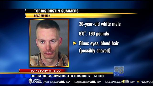 Fugitive Tobias Summers seen crossing into Mexico